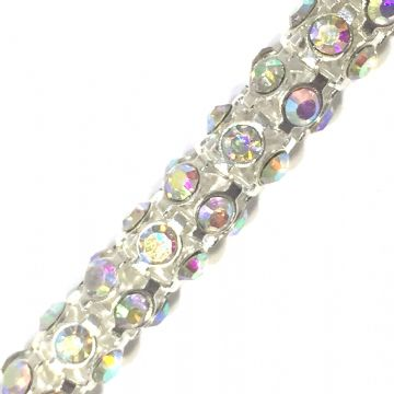 7mm Clear AB rhinestone silver colour reticulated chain -- 1meter